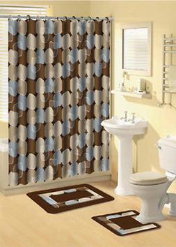 Modern Circles Light Blue 15 Pcs Shower Curtain with Hooks B
