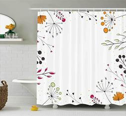 Ambesonne Modern Decor Shower Curtain, Floral Branches with
