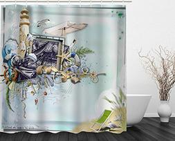 Modern Nautical Decor Shower Curtain Fabric,Ocean Beach Seas