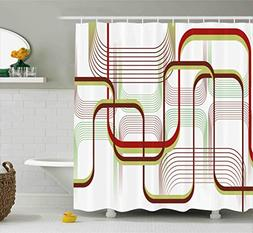 Ambesonne Modern Shower Curtain, Geometric Contemporary Wavy