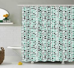 Ambesonne Modern Shower Curtain, Retro 60s 70s Vintage Geome