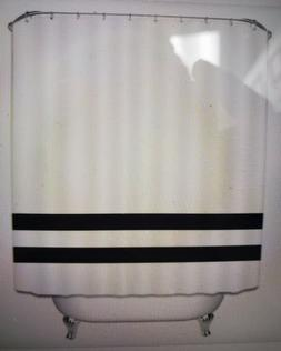 Modern White & Black Waterproof Shower Curtain