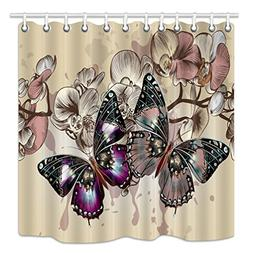 HNMQ Monarch Butterfly Decor Shower Curtain, Spring Rustic P
