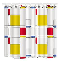 HNMQ 72 X 72 Inches Mondrian Style Yellow White Red Blue Lat