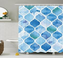Ambesonne Moroccan Decor Collection, Curvy Geometric Damask