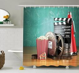 Ambesonne Movie Theater Shower Curtain, Production Theme 3D