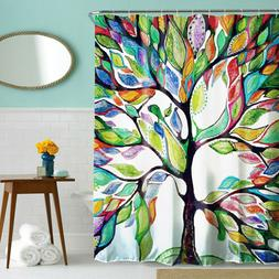 Multi-Color Tree Pattern Shower Curtain Bathroom Waterproof