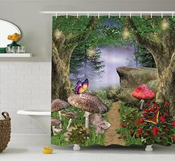 Ambesonne Mushroom Decor Shower Curtain by, Enchanted Nature