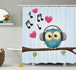 Ambesonne Music Decor Collection, Cute Cartoon Owl with Head