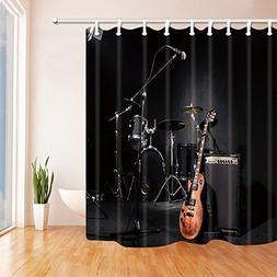 KOTOM Music Shower Curtains for Bathroom, Grunge Concert Ins
