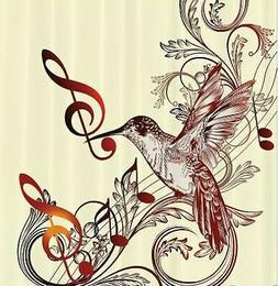 Musical Hummingbird Shower Curtain Notes Clefs Animal Print
