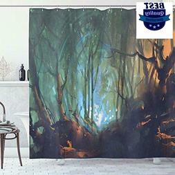 Ambesonne Mystic Shower Curtain, Whimsical Forest Reflection