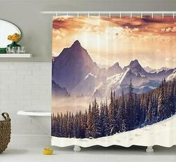 Ambesonne Nature Shower Curtain, Evening Winter Landscape wi