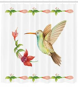 Nature Shower Curtain Hummingbird Artwork Print for Bathroom