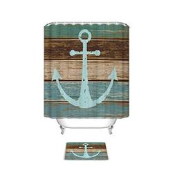 Nautical Anchor Rustic Wood Bathroom Shower Curtain with Mat