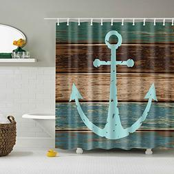 Chengsan Nautical Anchor Rustic Wood Pattern Shower Curtain,