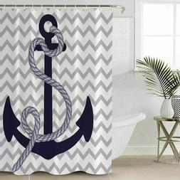 Nautical Anchor Shower Curtain Polyester Fabric Bathroom Dec