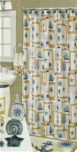 Nautical Beach Ocean Print Fabric Shower Curtain Starfish Se