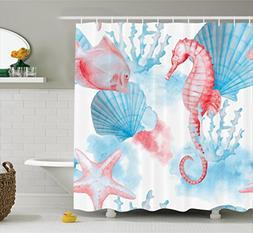 Ambesonne Nautical Decor Collection, Sea Shells Seahorse and