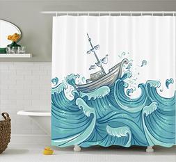 Ambesonne Nautical Decor Shower Curtain Set By, Illustration