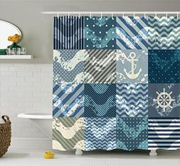 Ambesonne Nautical Decor Shower Curtain Set, Marine Theme Wa