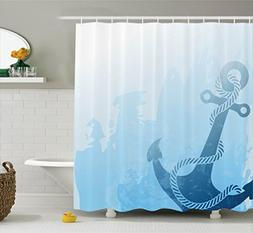 Ambesonne Nautical Decor Shower Curtain Set, Digital Monochr