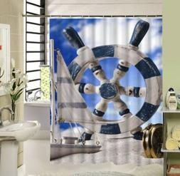 Nautical Decor Shower Curtain Ships Wheel Sailing Sailboat N