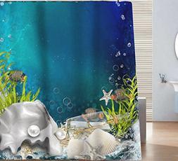 Sunlit Nautical Deep Sea Blue Ocean Scenery Shower Curtain w