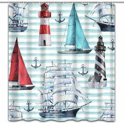 Nautical Sailboat Lighthouse Anchor Shower Curtain Bathroom
