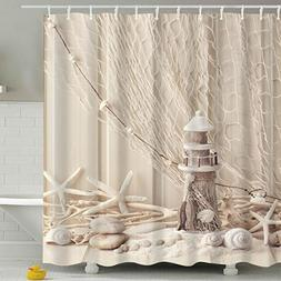 BROSHAN Nautical Seashell Decor Shower Curtain Fabric,Coasta