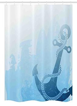 Ambesonne Nautical Stall Shower Curtain, Monochrome Anchor I