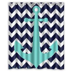 Navy Blue Chevron with Nautical Anchor Waterproof Bathroom S