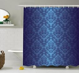 Ambesonne Navy Blue Decor Collection, Antique Baroque Floral