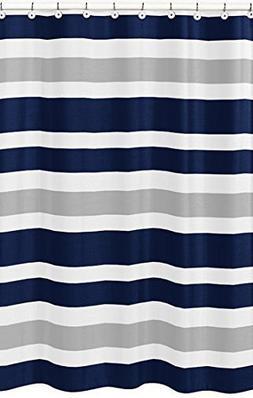 Navy Blue, Gray and White Kids Bathroom Fabric Bath Teen Str