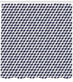 Navy Blue Shower Curtain Fabric Bathroom Decor Set with Hook