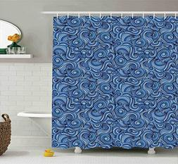 Ambesonne Navy Blue Shower Curtain Set Asian Decor, Abstract