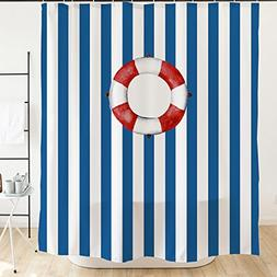 Navy blue stripped Swimming Ring Shower Curtain with Plastic