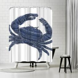 Americanflat Navy Blue Tribal Crab Shower Curtain by Jetty P