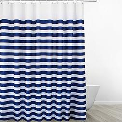 Eforgift Navy Blue on White Polyester Shower Curtain Mildew