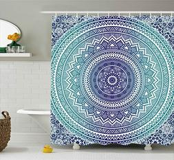 Ambesonne Navy and Teal Shower Curtain, Ombre Mandala Old Et