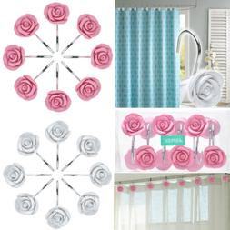 New 12 PCS Fashion Decorative Home Bathroom Rose Shower Curt
