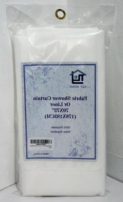 "New 70"" x 72"" White Waterproof Fabric Shower Curtain/Liner S"