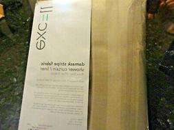 New EXCELL Beige Neutral fabric SHOWER CURTAIN LINER Damask