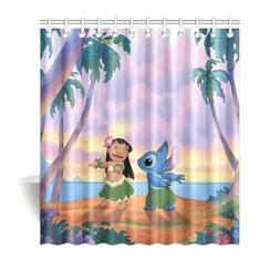 New Design Shower Curtain Custom Lilo And Stitch Waterproof