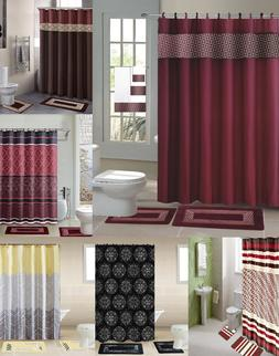 NEW DESIGNS SHOWER CURTAIN COVERED FABRIC HOOKS  BATHROOM SE