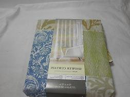 New Kohl's Fabric Shower Curtain  BAYSIDE 70X72 Brown Green