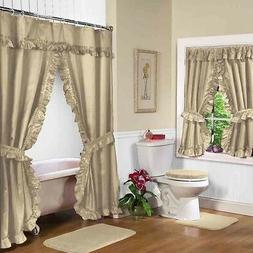 NEW LINEN BEIGE Double Swag Shower Curtain with Liner & Tieb