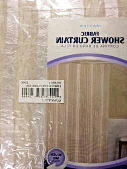 NEW Maytex Linen Stripe Fabric Shower Curtain