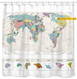New! Map of The World Shower Curtain with Detailed Major Cit