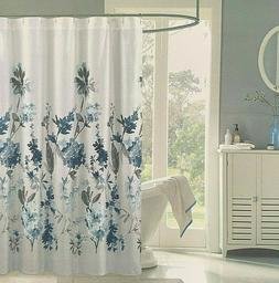 NEW TAHARI Home Ombre White Blue Fabric Shower Curtain 72 x